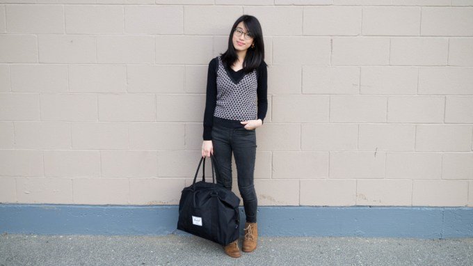 ootd black sweater and vest-1