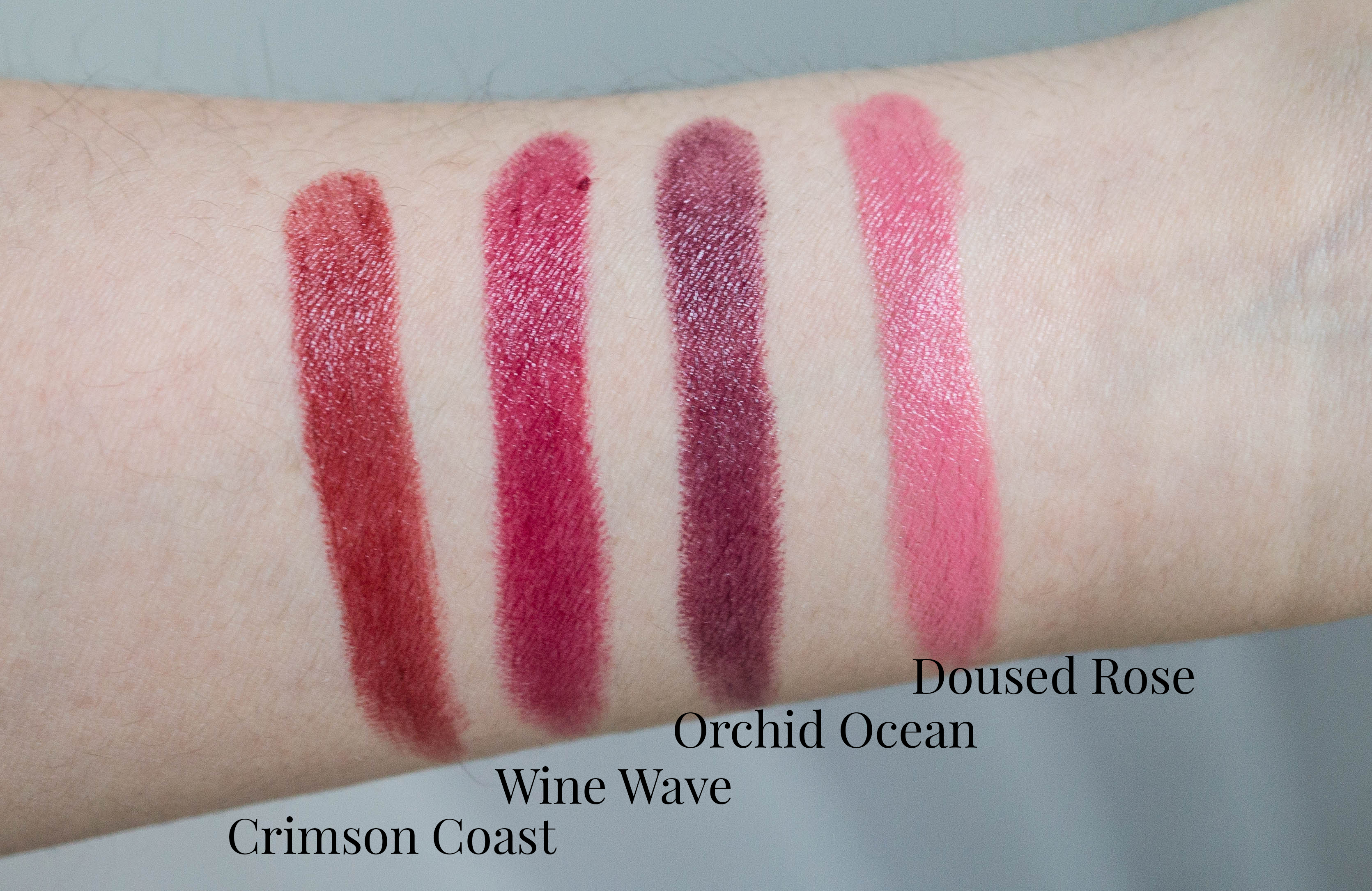 Burt's Bees Lipsticks: Crimson Coast, Wine Wave, Doused ...