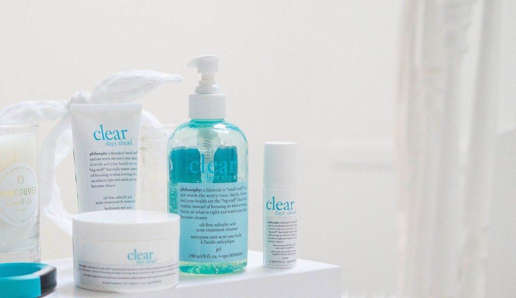 Philosophy Clear Days Ahead: cleanser, acne treatment pads, moisturizer, spot treatment