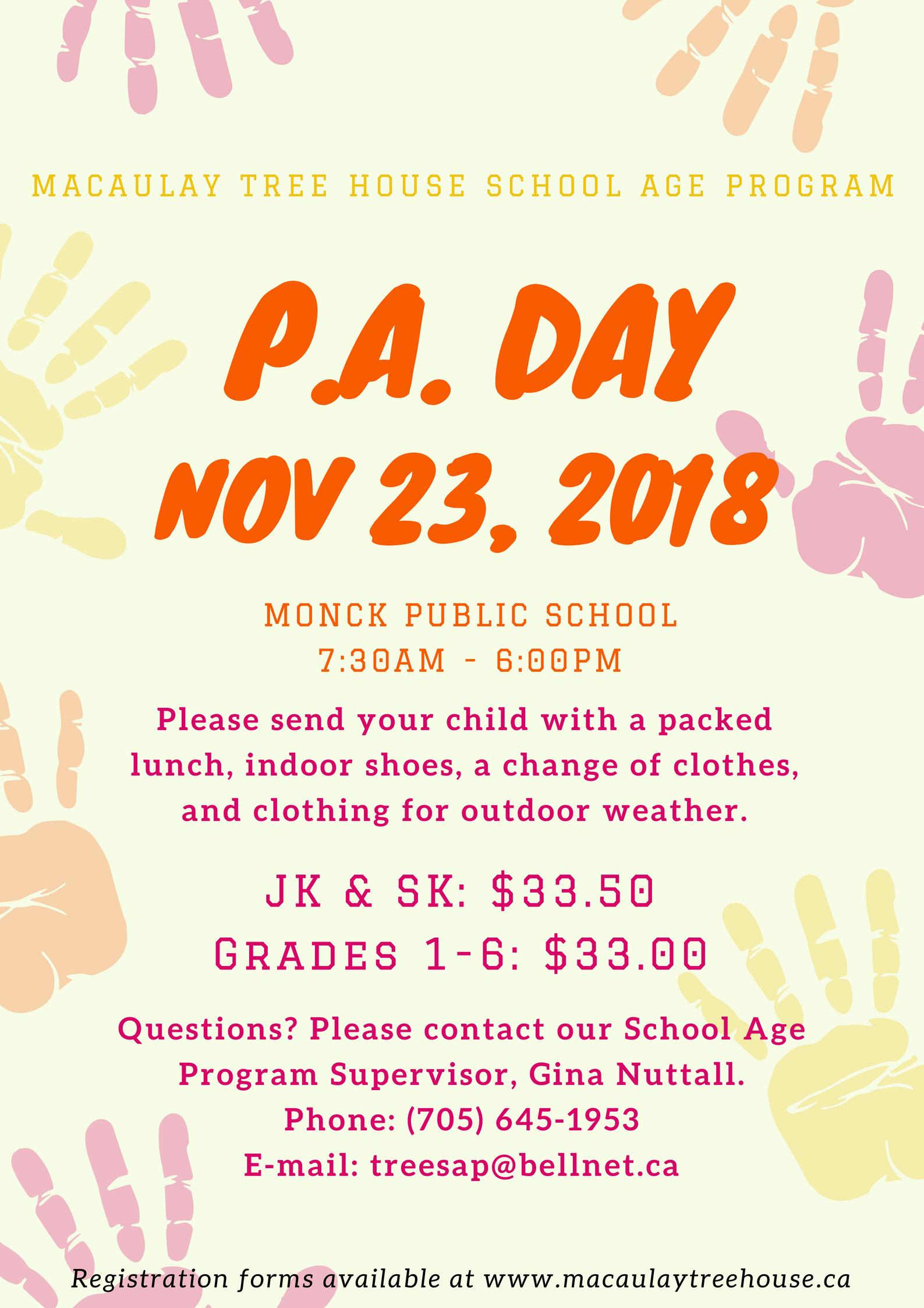 P.A. Day: November 23, 2018