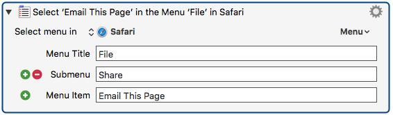 Set menu action