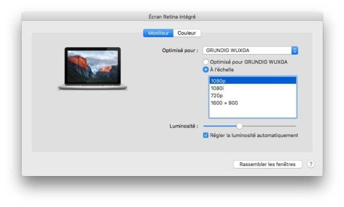 connexion macbook television ecran retina