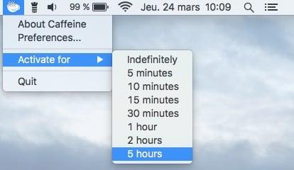 desactiver la mise en veille d'un macBook caffeine