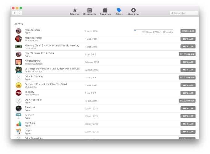 installer macOS Sierra sur MacBook telecharger apple store