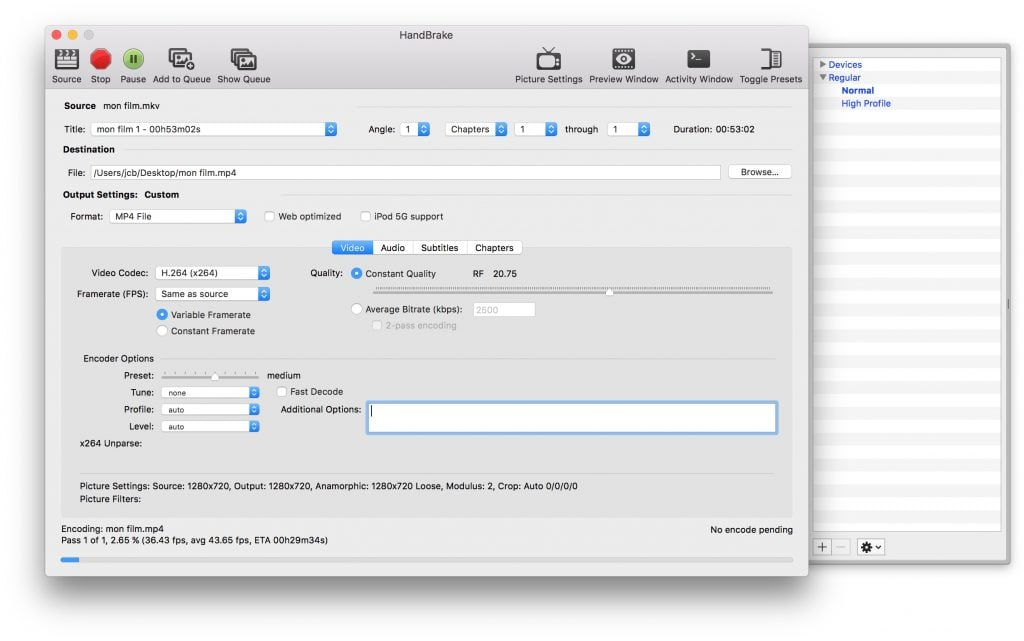 Convertir une video sur macOS Sierra handbrake mp4