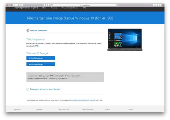 telecharger gratuitement windows 10 32 ou 64 bit