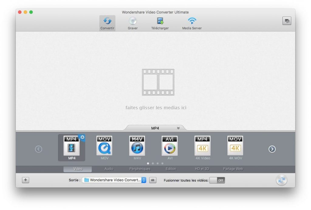 Encoder une video sur Mac avec wondershare
