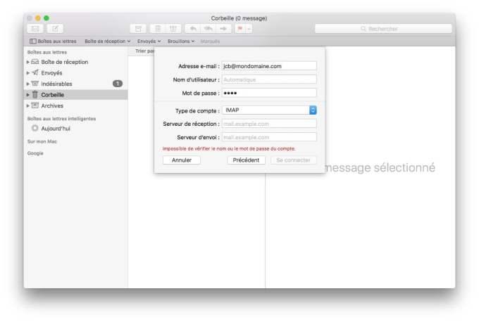 Ajouter un compte Apple Mail imap pop smtp