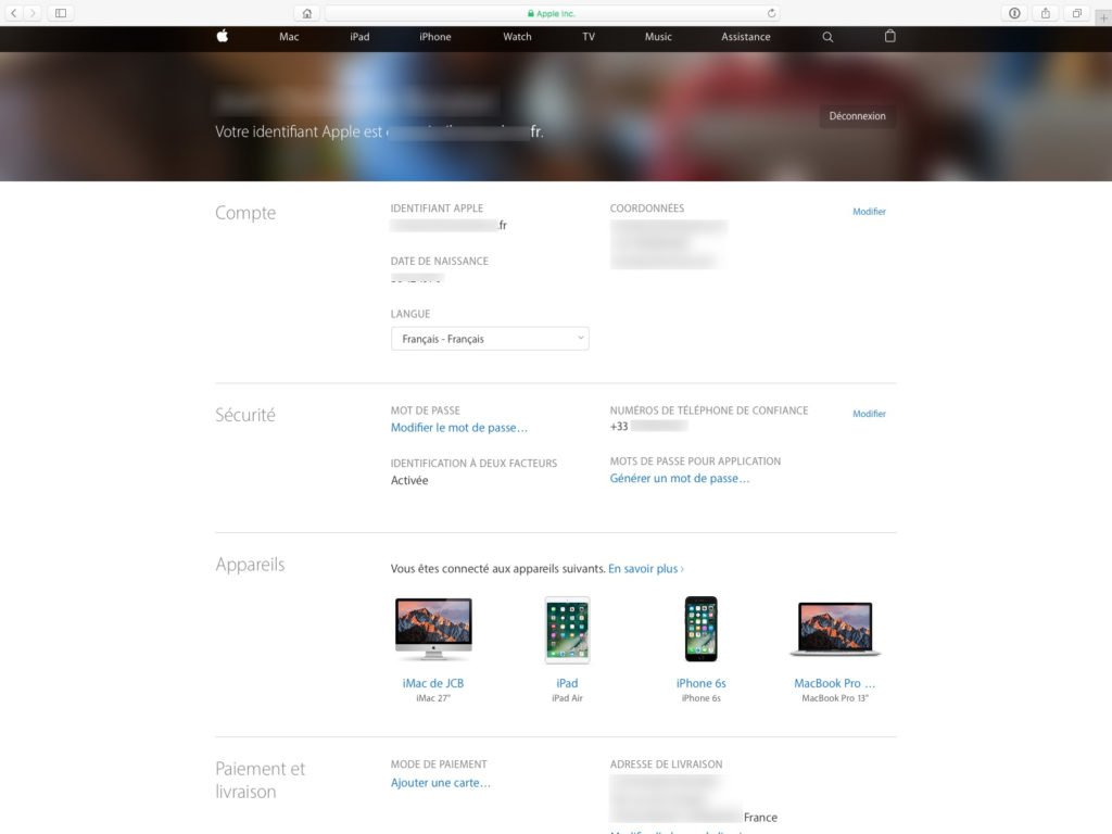 apple id informations paiement