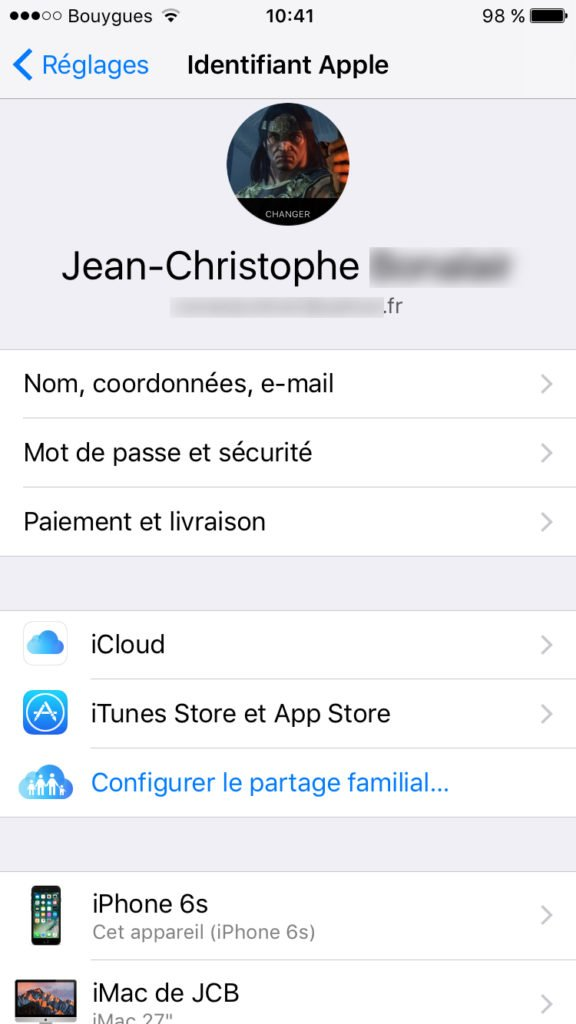 gerer son identifiant apple avec son iphone
