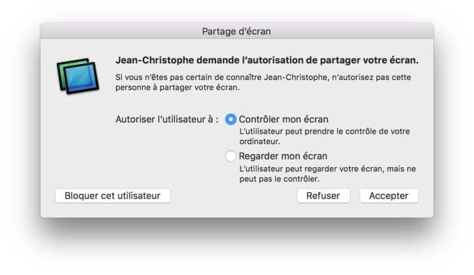 demande autorisation partage ecran mac