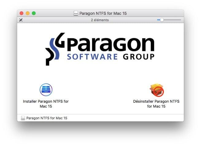 ecrire sur un disque NTFS sous macOS installer paragon ntfs