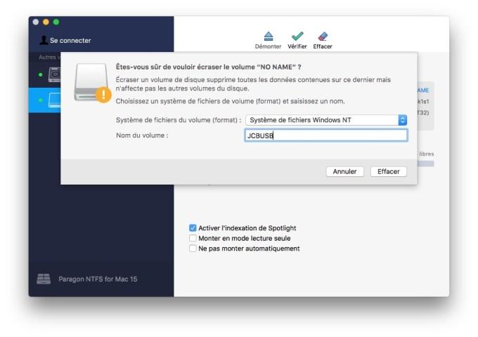 mac formater volume pour windows en ntfs