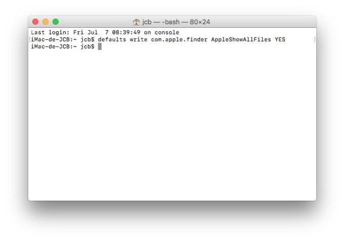 Afficher les fichiers caches macOS High Sierra terminal