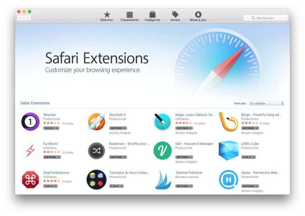 installer une extension Safari MacOS High Sierra