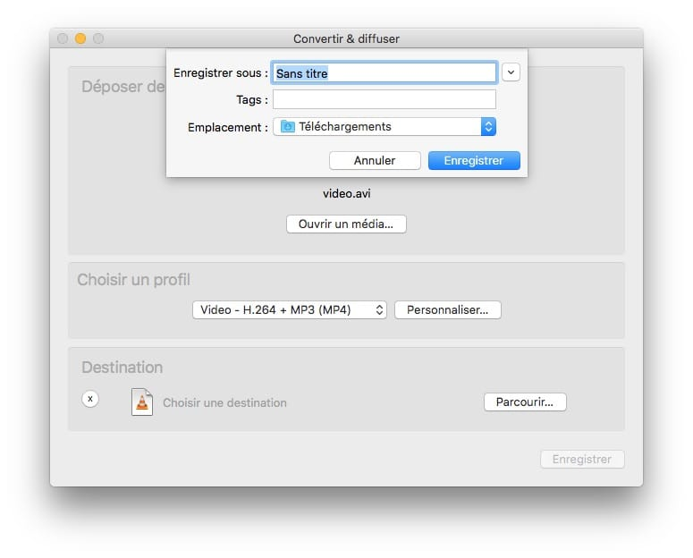 conversion video macos catalina avec vlc enregistrer
