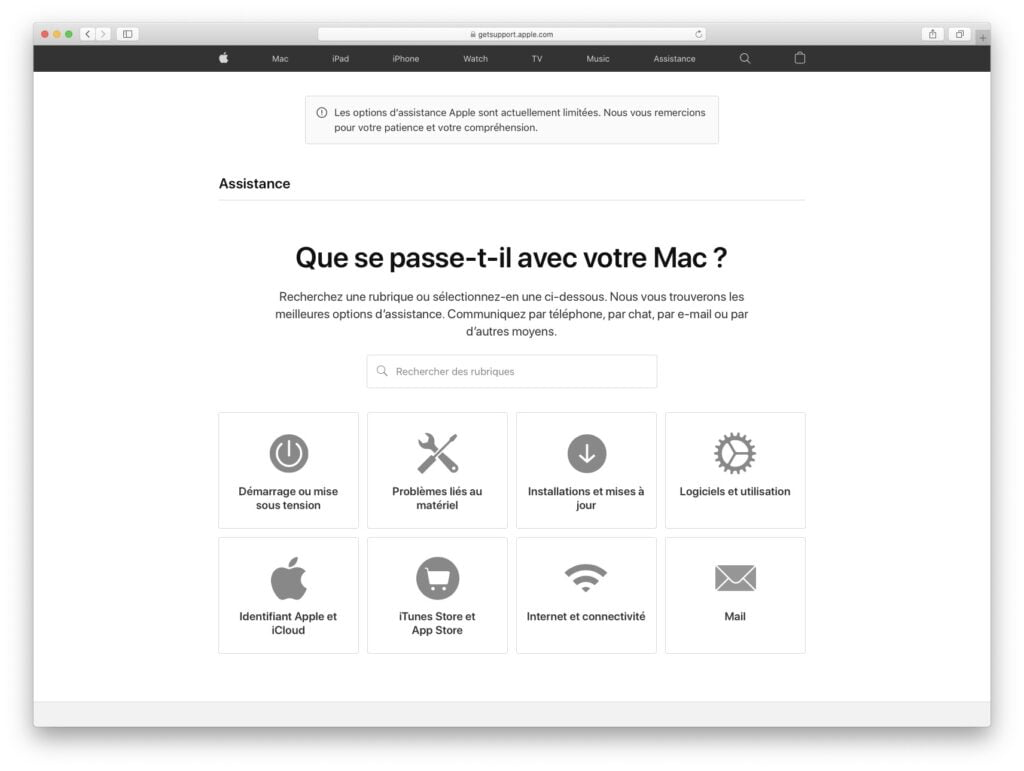faire un chat avec apple assistance