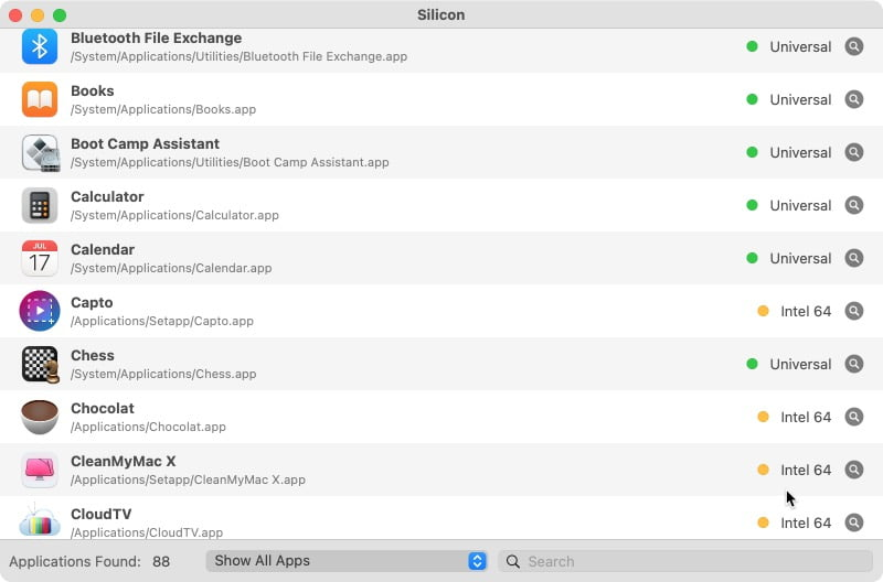 Silicon app verifier apps compatibles Mac M1