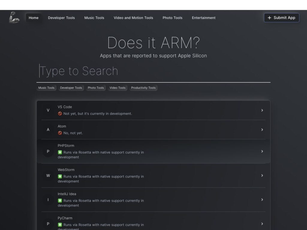 liste apps apple silicon Does it ARM