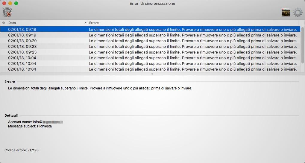 Microsoft Outlook per Mac: Codice errore -17193 - Maccanismi