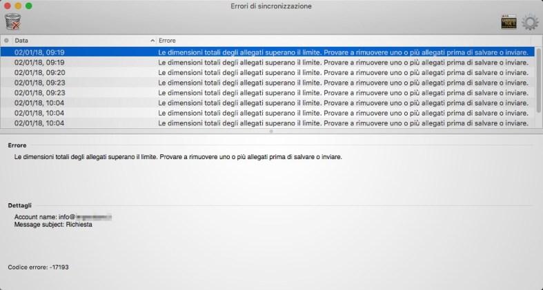 Microsoft Outlook per Mac: Codice errore -17193