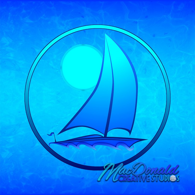 Ocean Blue Sailboat