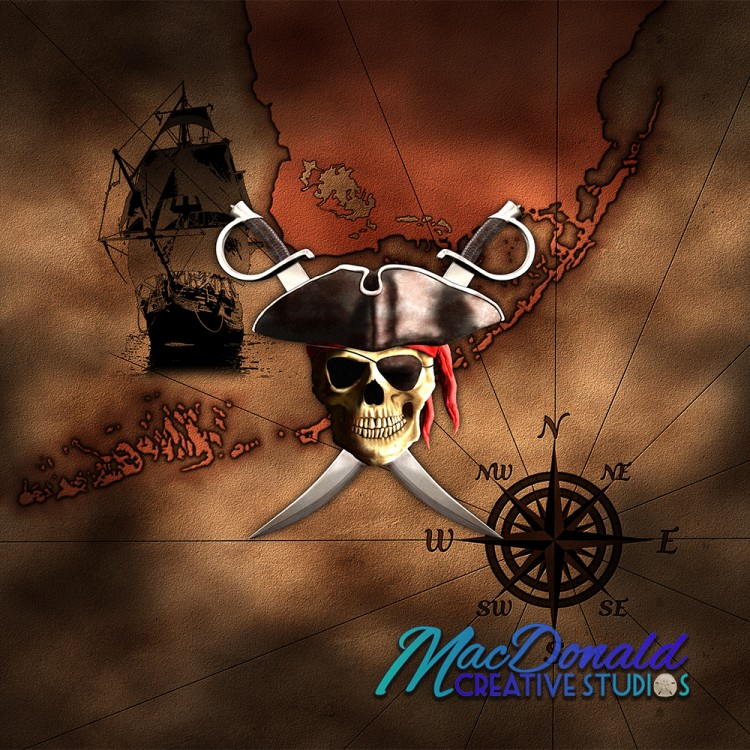 Digital artwork of vintage pirate map.