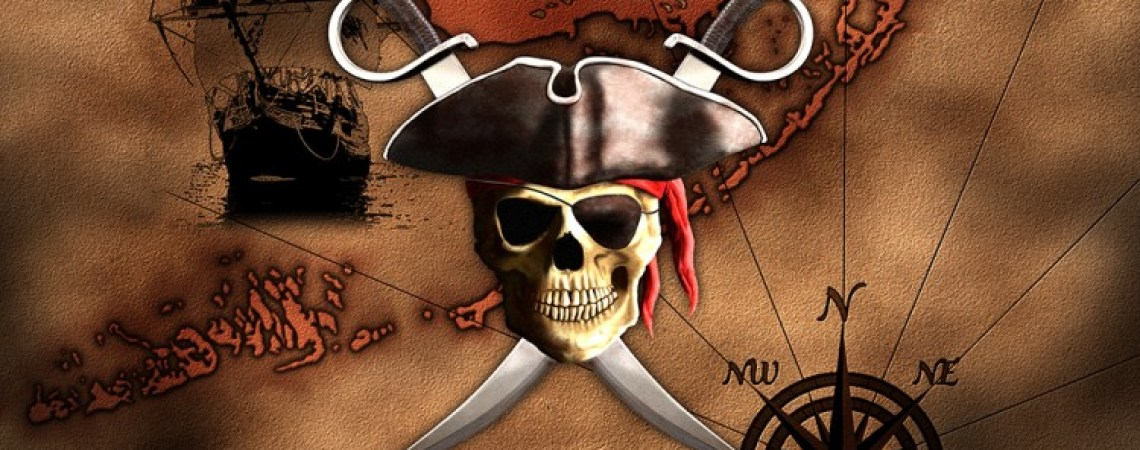 Digital artwork of vintage pirate map.
