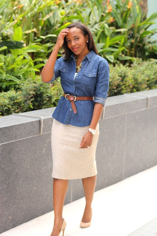 Pencil Skirt White Blouse