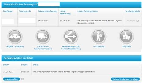 iPad 3 Generation Hermes und UPS Sendungsverfolgung