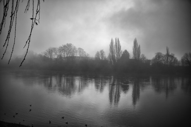 Mist-laden view from Hammersmith Mall to the Surrey shore