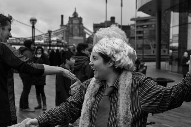 A group of ecowarriors in Boris wigs wage an anti-Mayoral demoin front of City Hall. We didn