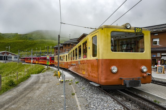 Jungfraubahn train leaving Kleine Scheidegg with another load of tourists for the top of the Jungfraujoch