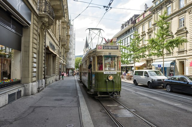 Our very owntram awaitsin a side street near Bern railway station. As part of our organised tour, we spent two hours trundling around the Swiss capital in this 1935 vintage tram