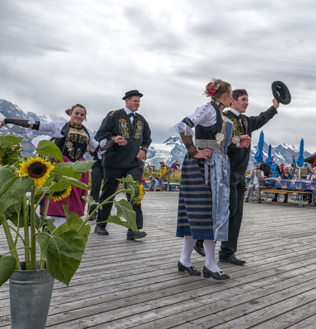 Trachtenfest —traditional alpine clothing and entertainment—at the top of the Männlichen last Sunday