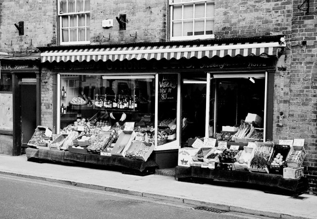 Finally, the peace and quiet of England as my new owner pointed me at a greengrocer