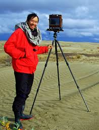 QT on location with his large-format film camera and hefty tripod