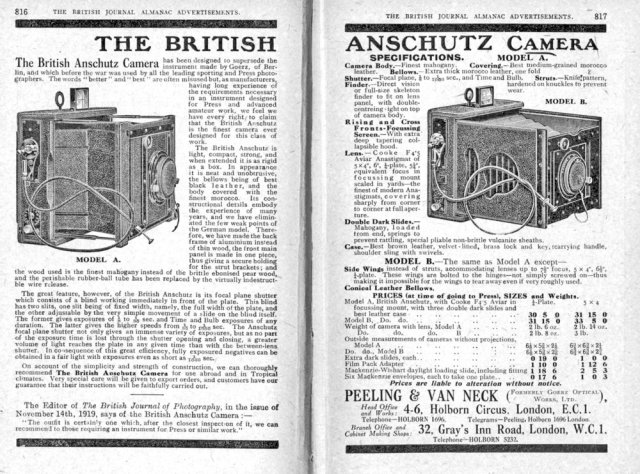 [Fig.4]The British Anschutz. German cameras could not be imported in WW1. Peeling and Van Neck brought out the British Anschutz in 1919. It only lasted three years; by 1923 it was no longer listed.