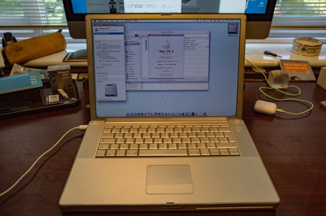 My first Mac (well, almost, the long-gone Mac mini came three days earlier). This 2005 PowerBook G4 is still running but takes forever to start and has developed an unpleasant musty smell, sniffyniscent of body odour. But.... It does boast a 1.67GHz processor, 1.5GB of RAM and a commodious 75GB drive. Back in 2005 this beast was state-of-the-art stuff and I was more than chuffed with my purchase. It is running OS X Leopard (10.5,8) but that would have been a later update. It would originally have been supplied with Tiger. In those days Macs were built like tanks (....this feels like one) and had a very definite geeky following. In the intervening years my Macs have come and gone in number; but I have held on to this PowerBook for old times