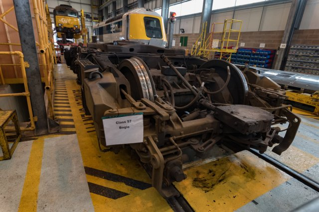 A class 57 bogie posing for the cameras. Never, never have bogies been so admired and photographed