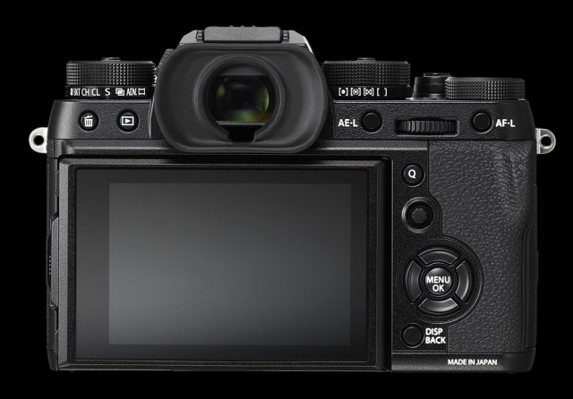 The superb control set on the top dial can be appreciated in this rear shot of the X-T2. The two major dials either side of the viewfinder are both double-headers working concentrically. On the left is the ISO dial above the drive adjustment. To the right is the shutter speed dial with direct access metering beneath. On the far right is the exposure compensation dial. Note the joystick immediately above the four-way D pad — an addition which I find extremely useful