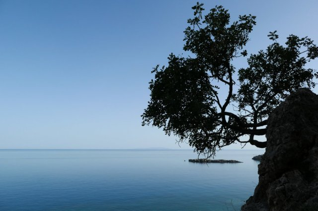 Goat Island outside Loutro - and that tree! (ISO 125 1/1000th f5.6 24mm Leica C-Lux)