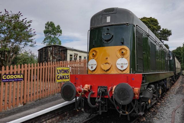 No steam today — the fields were tinder dry and the volunteers of the C&PRR rightly smelled a whiff of burning lawsuit if they dared fire up the steam engine. We had to make do with this diesel loco  which bore an uncanny resemblance to Thomas the Tank Engine.