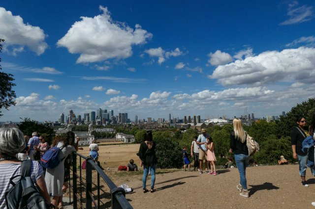 The London financial district viewed from the centre of the world's dating system. The Greenwich meridian is ground zero for longitude (Image Mike Evans, Leica C-Lux)