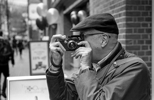 And there was life even before the M3 came along. Mike exercises his snap-around-the-corner 1935 Leica III with the intrepid Winkelsucher (corner viewfinder). Those were the days before GDPR.