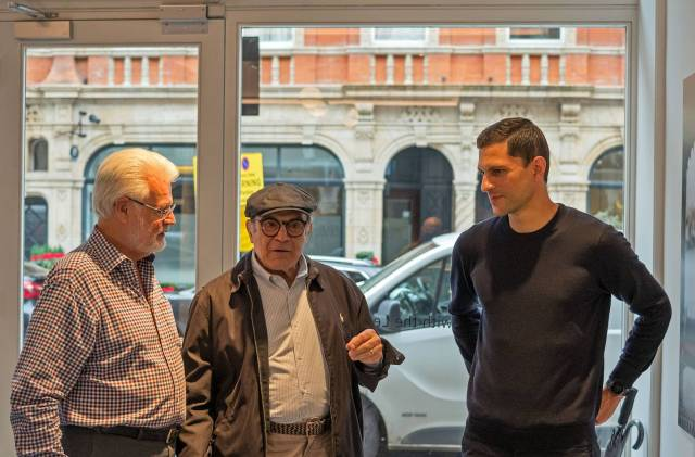 David Suchet arrives to be greeeted by TLS secretary Tony Cole and, right, Robin Sinha of Leica