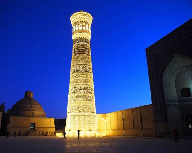 The 10th century tower Kaylan minaret in Bukhara, Uzbekistan. Robyn went out and caught her image hand held at night, while the rest of us were at dinner