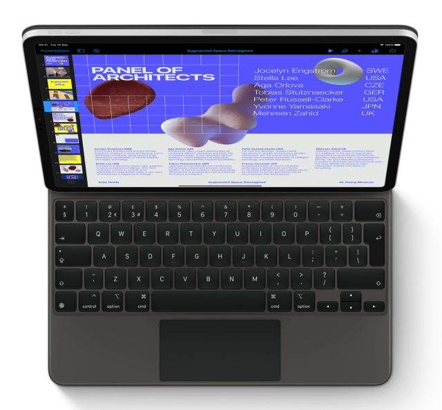 """Almost a Mac, but more the hybrid Mac – the new Magic Keyboard with the 12.9in iPad Pro. Note the lack of a top row of function keys and the """"world? key on the bottom left where the Mac has the fn key (Image Apple Inc)"""