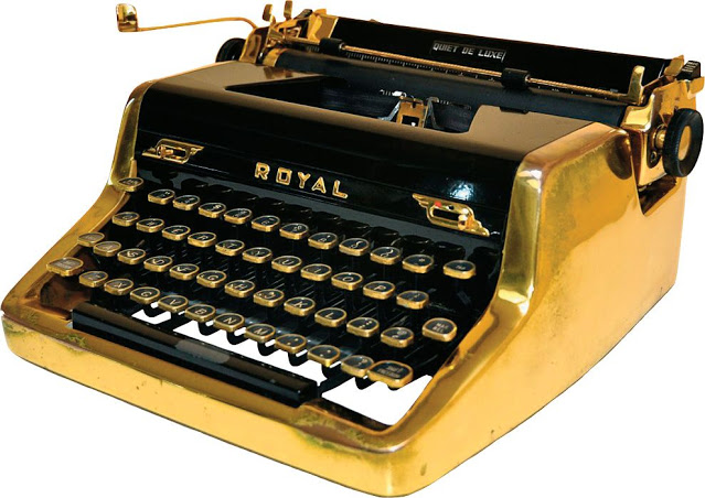 Casino Royal: The gold-plated Royal portable which Ian Fleming used to write many of the Bond novels (courtesy of Oztypewriter)