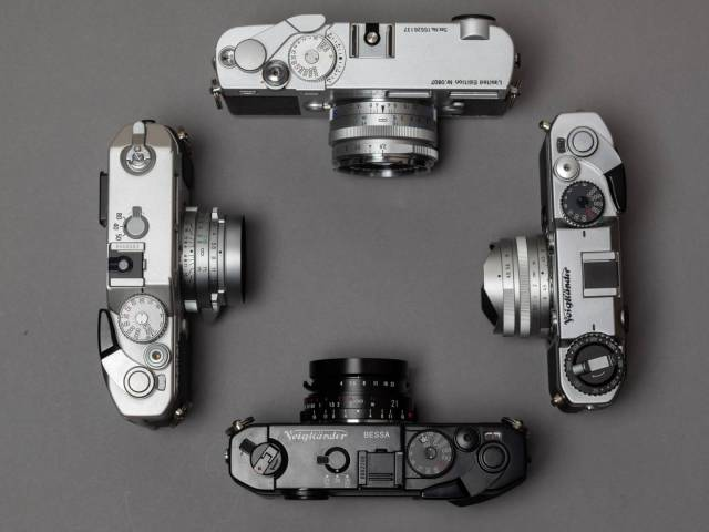 All made by Cosina: Zeiss Ikon (top), Voigtländer Bessa T (right), Voigtländer Bessa R4M (bottom), Rollei 35 RF (left)